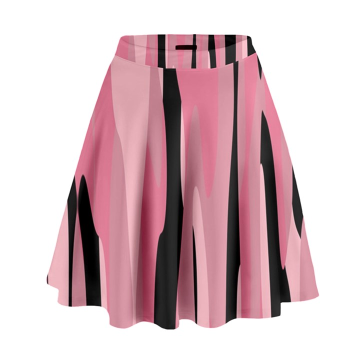 Black and pink Camo abstract High Waist Skirt