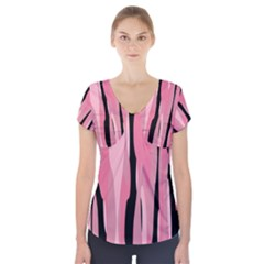 Black And Pink Camo Abstract Short Sleeve Front Detail Top