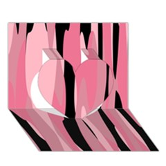 Black and pink camo abstract Heart 3D Greeting Card (7x5)