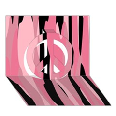 Black And Pink Camo Abstract Peace Sign 3d Greeting Card (7x5)