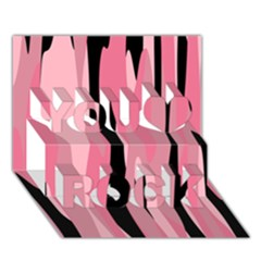 Black and pink camo abstract You Rock 3D Greeting Card (7x5)