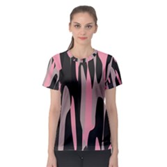 Pink and Black Camouflage Abstract Women s Sport Mesh Tee