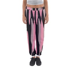 Pink and Black Camouflage Abstract Women s Jogger Sweatpants
