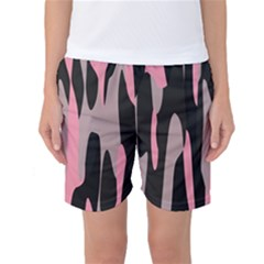 Pink and Black Camouflage Abstract Women s Basketball Shorts