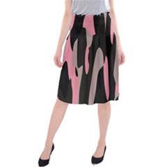 Pink and Black Camouflage Abstract Midi Beach Skirt