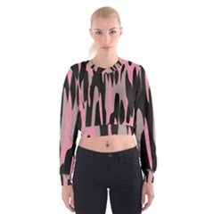 Pink and Black Camouflage Abstract Women s Cropped Sweatshirt