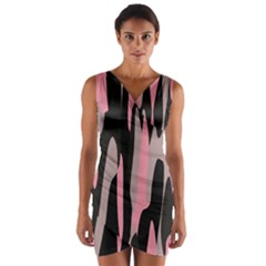 Pink And Black Camouflage Abstract Wrap Front Bodycon Dress