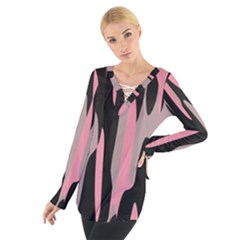 Pink And Black Camouflage Abstract Women s Tie Up Tee