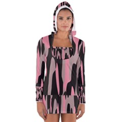 Pink and Black Camouflage Abstract Women s Long Sleeve Hooded T-shirt