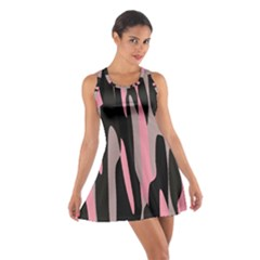 Pink and Black Camouflage Abstract Racerback Dresses