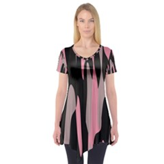 Pink and Black Camouflage Abstract Short Sleeve Tunic
