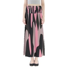 Pink and Black Camouflage Abstract Maxi Skirts