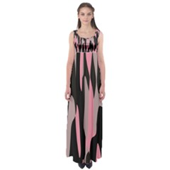 Pink and Black Camouflage Abstract Empire Waist Maxi Dress