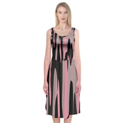 Pink And Black Camouflage Abstract Midi Sleeveless Dress
