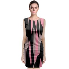 Pink And Black Camouflage Abstract Classic Sleeveless Midi Dress