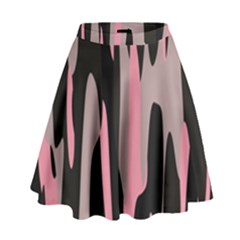 Pink And Black Camouflage Abstract High Waist Skirt
