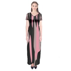 Pink and Black Camouflage Abstract Short Sleeve Maxi Dress
