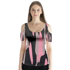 Pink and Black Camouflage Abstract Butterfly Sleeve Cutout Tee