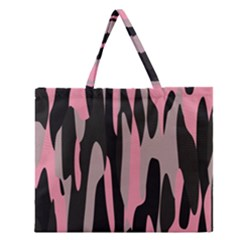 Pink And Black Camouflage Abstract Zipper Large Tote Bag