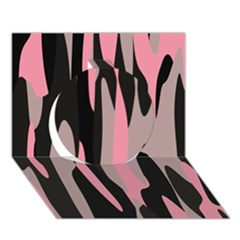 pink and black camouflage abstract 2 Circle 3D Greeting Card (7x5)
