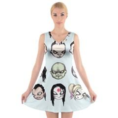 Worst Heroes Ever V-Neck Sleeveless Skater Dress
