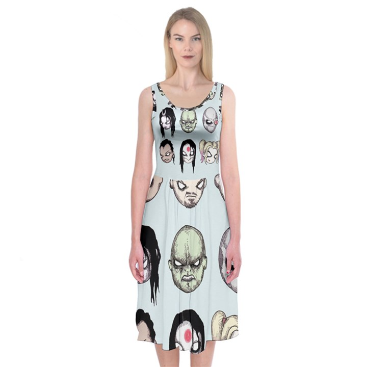 Worst Heroes Ever Midi Sleeveless Dress