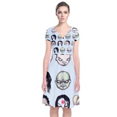 Worst Heroes Ever Short Sleeve Front Wrap Dress