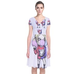 Suicide Harley Short Sleeve Front Wrap Dress