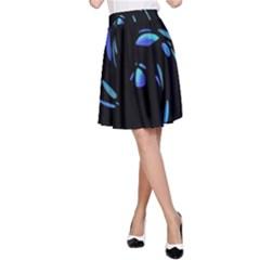 Blue twist A-Line Skirt