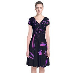 Purple twist Short Sleeve Front Wrap Dress
