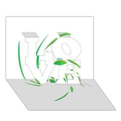 Green twist LOVE 3D Greeting Card (7x5)