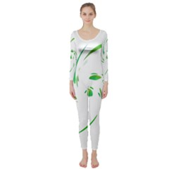 Green twist Long Sleeve Catsuit