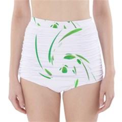 Green twist High-Waisted Bikini Bottoms