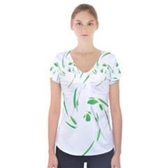 Green twist Short Sleeve Front Detail Top