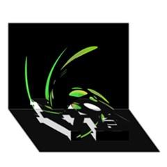 Green Twist LOVE Bottom 3D Greeting Card (7x5)