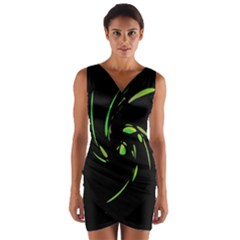 Green Twist Wrap Front Bodycon Dress