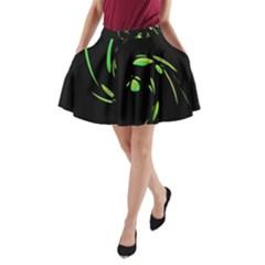 Green Twist A Line Pocket Skirt