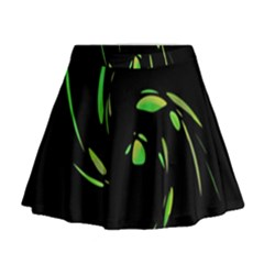 Green Twist Mini Flare Skirt