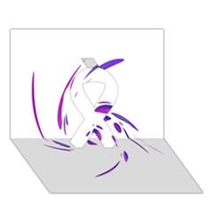 Purple twist Ribbon 3D Greeting Card (7x5)