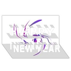 Purple twist Happy New Year 3D Greeting Card (8x4)
