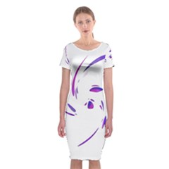Purple twist Classic Short Sleeve Midi Dress