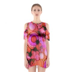 Palm Trees on Sunset Stains Cutout Shoulder Dress