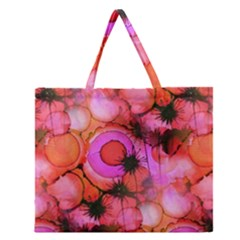 Palm Trees on Sunset Stains Zipper Large Tote Bag