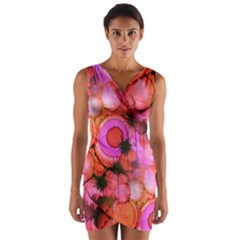 Palm Trees On Sunset Stains Wrap Front Bodycon Dress