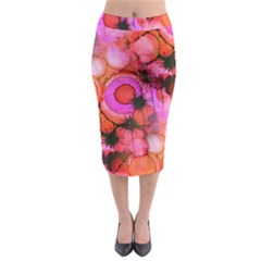 Palm Trees on Sunset Stains Midi Pencil Skirt