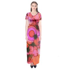 Palm Trees on Sunset Stains Short Sleeve Maxi Dress