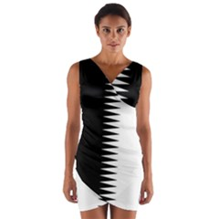Black and white  Wrap Front Bodycon Dress