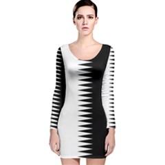 Black And White  Long Sleeve Velvet Bodycon Dress