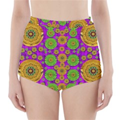 Fantasy Sunroses In The Sun High Waisted Bikini Bottoms
