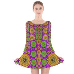 Fantasy Sunroses In The Sun Long Sleeve Velvet Skater Dress